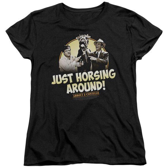Abbott & Costello Horsing Around Short Sleeve Womens Tee T-Shirt