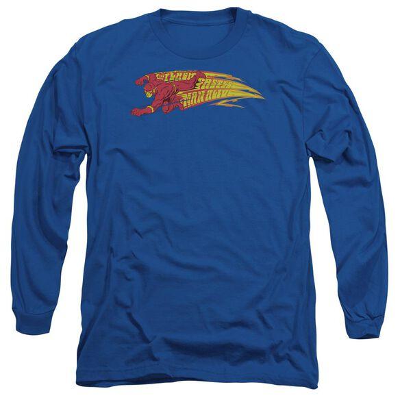 Dc Flash Fastest Man Alive Long Sleeve Adult Royal T-Shirt