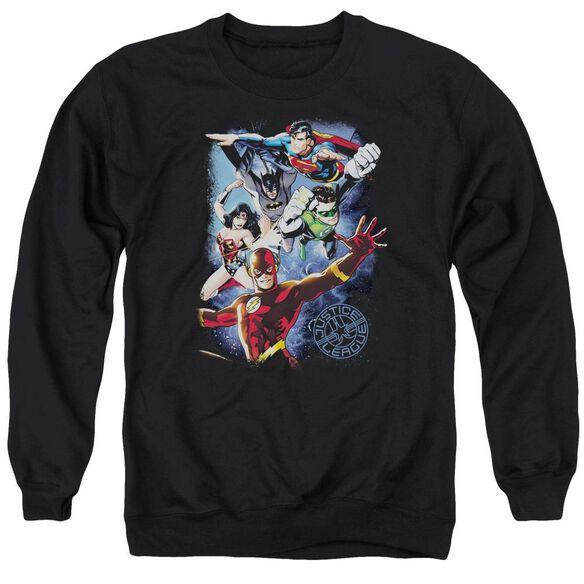 Jla Galactic Attack Color Adult Crewneck Sweatshirt
