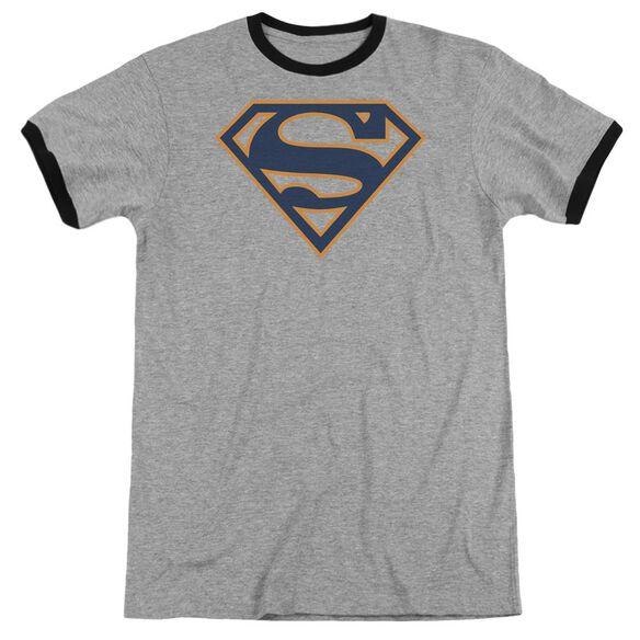 Superman Navy & Orange Shield - Adult Ringer - Heather/black