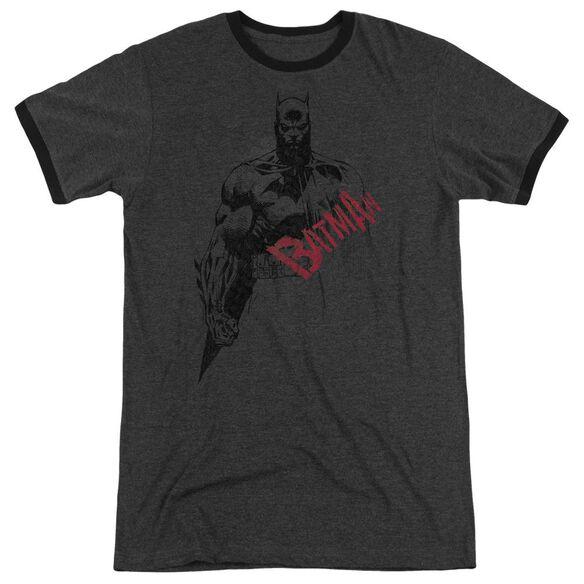 Batman Sketch Bat Red Logo Adult Heather Ringer Charcoal