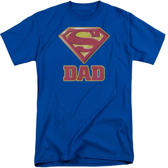 Superman Super Dad Short Sleeve Adult Tall Royal T-Shirt