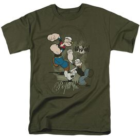 POPEYE THREE PART PUNCH - S/S ADULT 18/1 - MILITARY GREEN T-Shirt