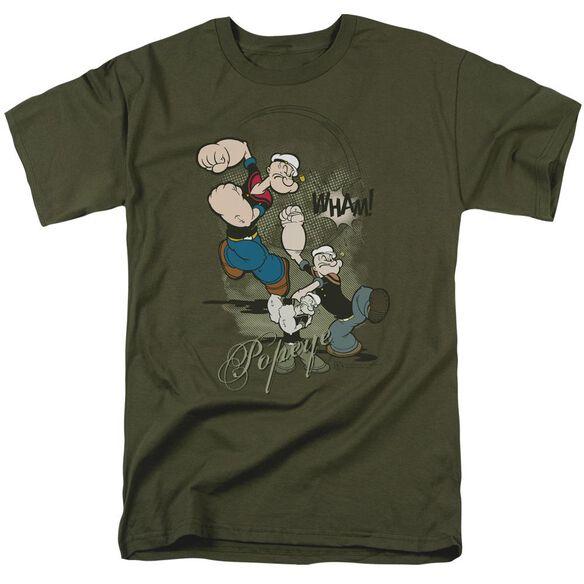 Popeye Three Part Punch Short Sleeve Adult Military Green T-Shirt