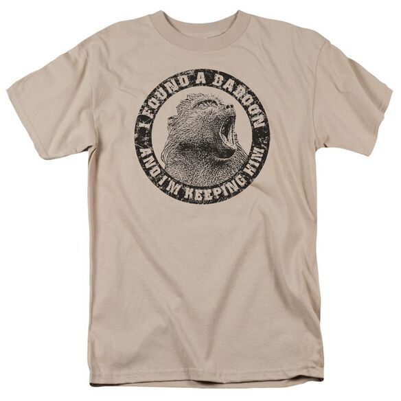 I Found A Baboon Short Sleeve Adult Sand T-Shirt
