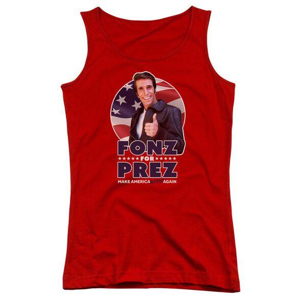 Happy Days Fonz For Prez Juniors Tank Top