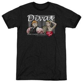 I LOVE LUCY DIVAS - ADULT HEATHER RINGER - BLACK