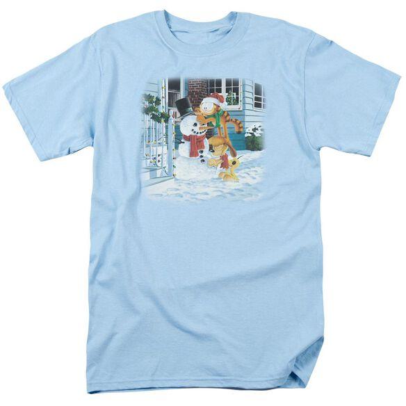 Garfield Snow Fun Short Sleeve Adult Light Blue T-Shirt