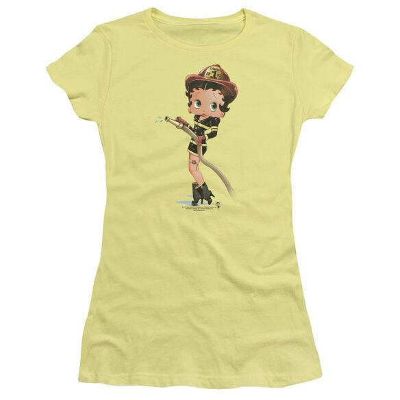 Betty Boop Firefighter Short Sleeve Junior Sheer T-Shirt