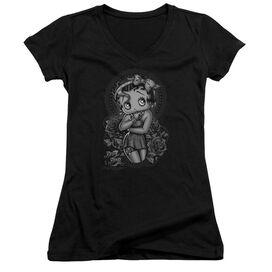 Betty Boop Fashion Roses Junior V Neck T-Shirt