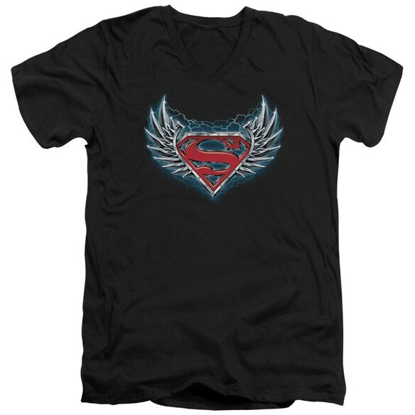 Superman Steel Wings Logo Short Sleeve Adult V Neck T-Shirt