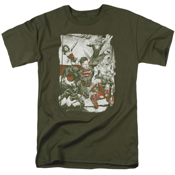 Jla And Red Short Sleeve Adult Military T-Shirt