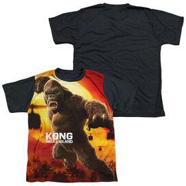 Kong Skull Island Kong Attacks Short Sleeve Youth Front Black Back T-Shirt