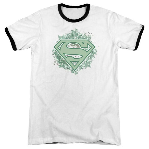 Superman Ornate Shield Adult Ringer White Black