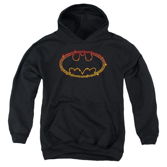 Batman Flame Outlined Logo Youth Pull Over Hoodie