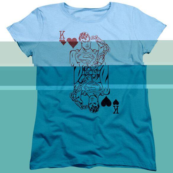 Dc Super Card Short Sleeve Womens Tee Light T-Shirt