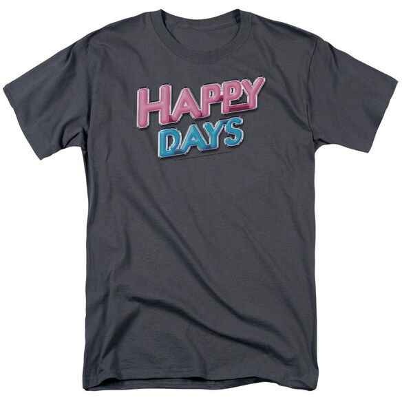 Happy Days Happy Days Logo Short Sleeve Adult Charcoal T-Shirt
