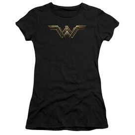 Justice League Movie Wonder Woman Logo Short Sleeve Junior Sheer T-Shirt