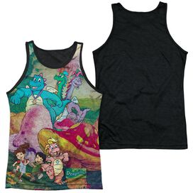 Dragon Tales Mushroom Meadow Adult Poly Tank Top Black Back