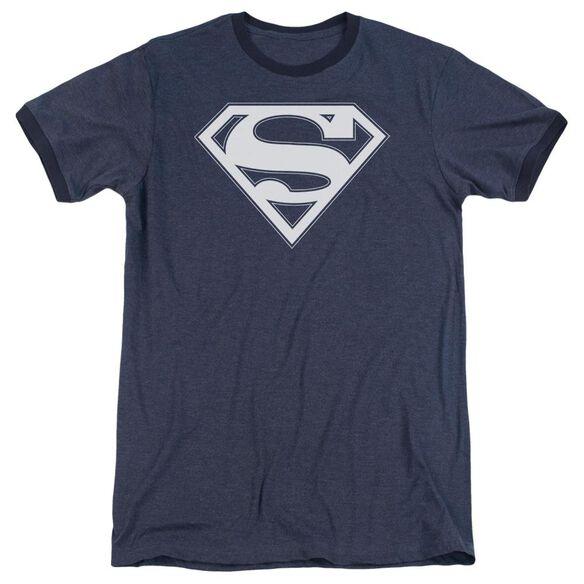 Superman Navy & White Shield Adult Heather Ringer Navy