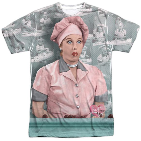 I Love Lucy Chocolate Belt Short Sleeve Adult Poly Crew T-Shirt