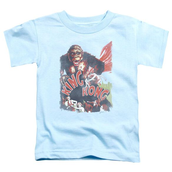 King Kong You Better Run Short Sleeve Toddler Tee Light Blue Lg T-Shirt