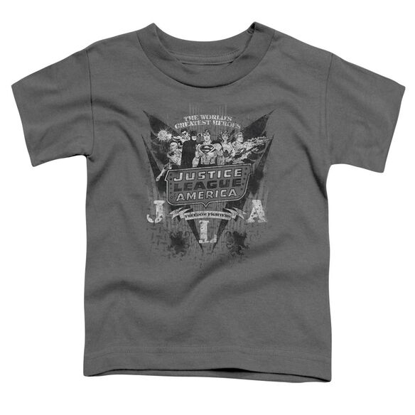 Dc Greatest Heroes Short Sleeve Toddler Tee Charcoal Lg T-Shirt