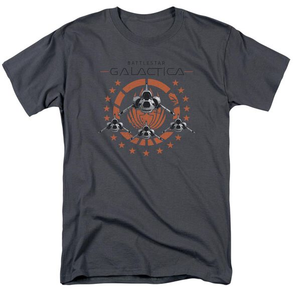 Bsg Squadron Short Sleeve Adult Charcoal T-Shirt