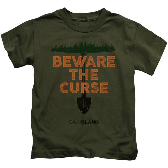 The Curse Of Oak Island Beware The Curse Short Sleeve Juvenile Military Green T-Shirt