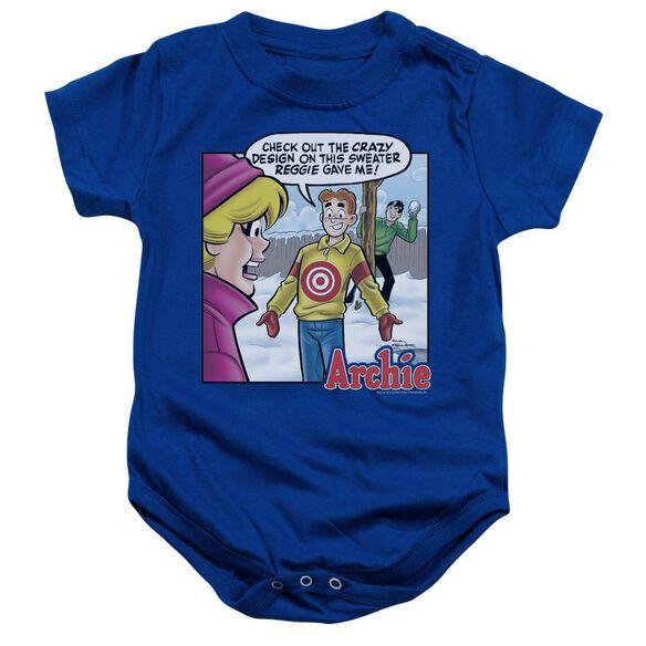 Archie Comics Crazy Sweater Infant Snapsuit Royal Blue