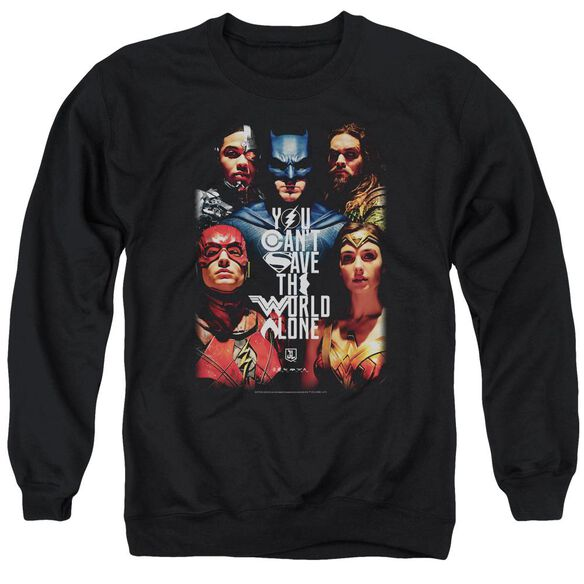 Justice League Movie Save The World Poster Adult Crewneck Sweatshirt