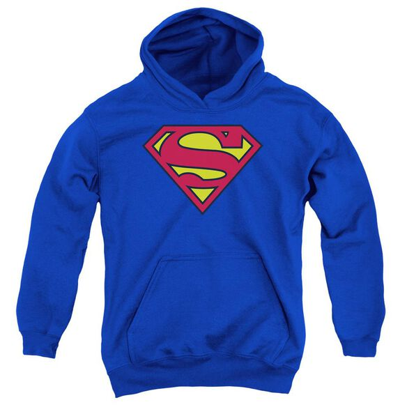 Superman Classic Logo Youth Pull Over Hoodie Royal