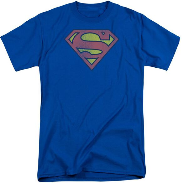 Dc Retro Supes Logo Distressed Short Sleeve Adult Tall Royal T-Shirt
