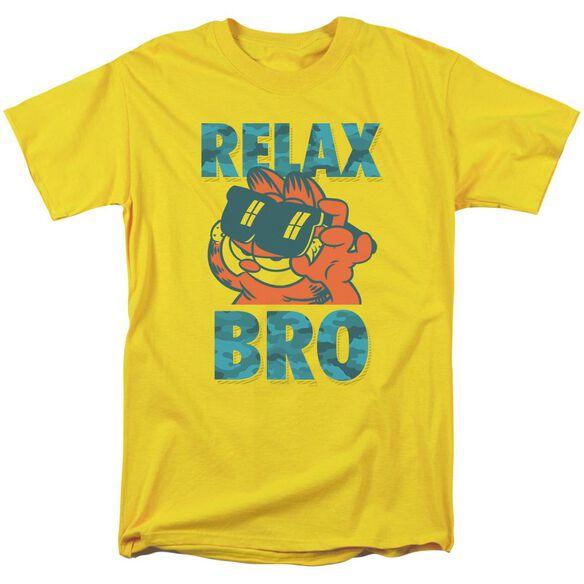 Garfield Relax Bro Short Sleeve Adult Yellow T-Shirt