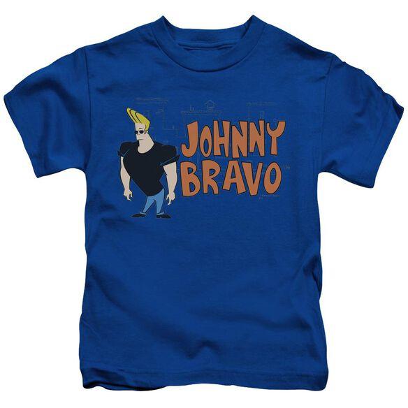 Johnny Bravo Johnny Logo Short Sleeve Juvenile Royal Blue T-Shirt