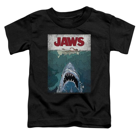 Jaws Lined Poster Short Sleeve Toddler Tee Black T-Shirt