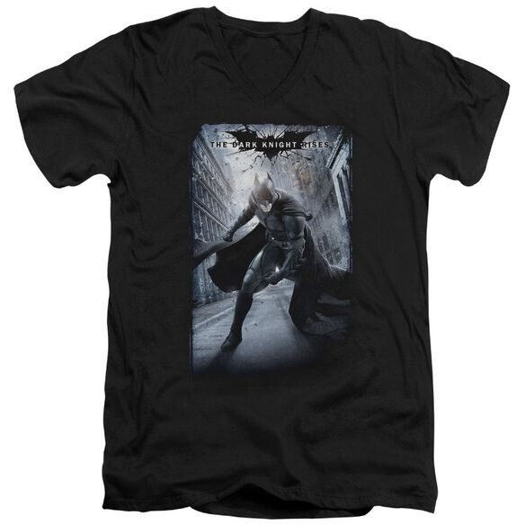 Dark Knight Rises Crumbled Poster Short Sleeve Adult V Neck T-Shirt