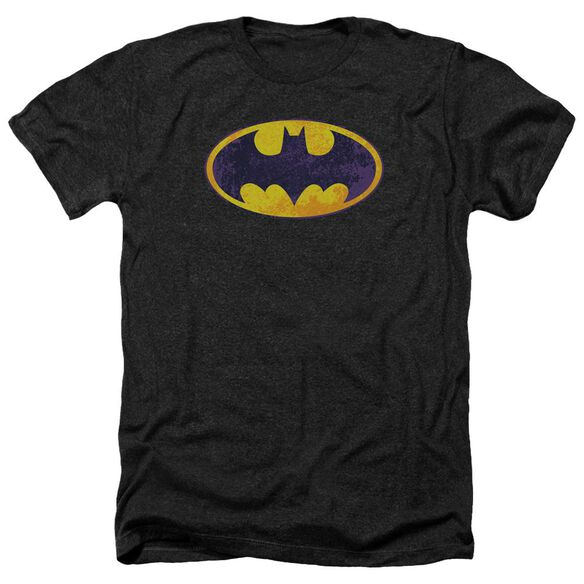 Batman Bm Neon Distress Logo Adult Heather