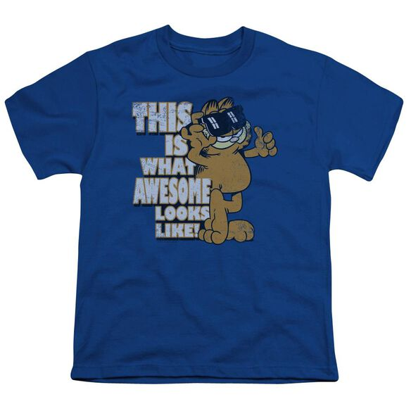 Garfield Awesome Short Sleeve Youth Royal T-Shirt