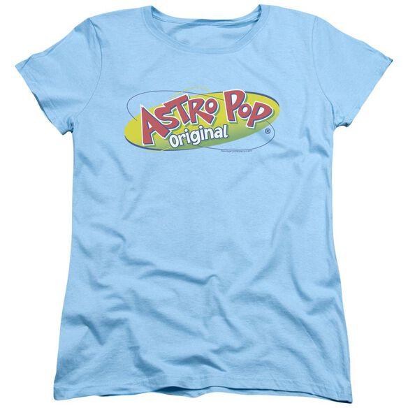 Astro Pop Logo Short Sleeve Womens Tee Light Blue T-Shirt