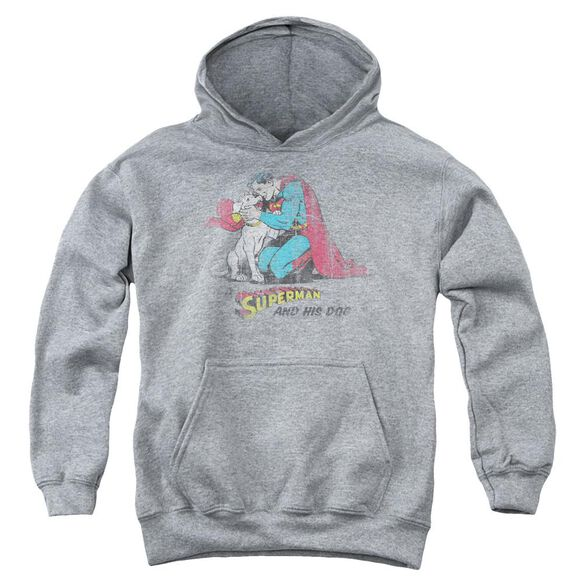 Superman And His Dog Youth Pull Over Hoodie