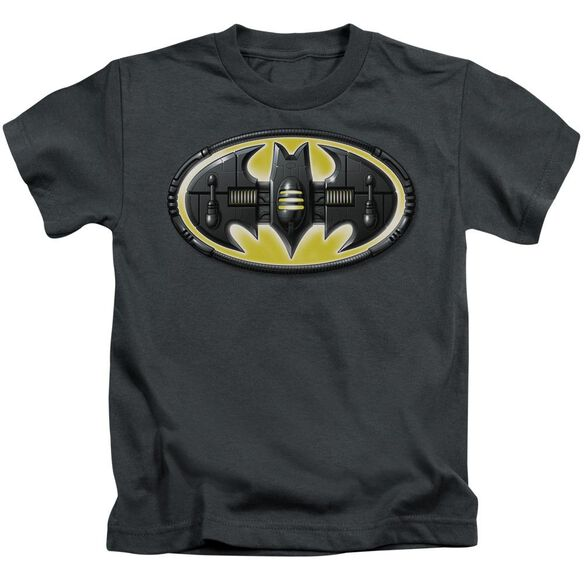 Batman Bat Mech Logo Short Sleeve Juvenile Charcoal Md T-Shirt