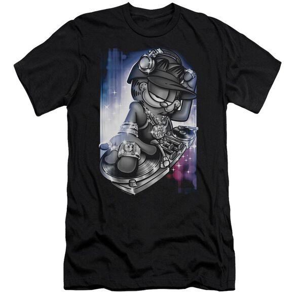 GARFIELD DJ LAZY - S/S ADULT 30/1 - BLACK T-Shirt