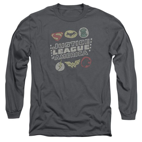 Jla Symbols Long Sleeve Adult T-Shirt