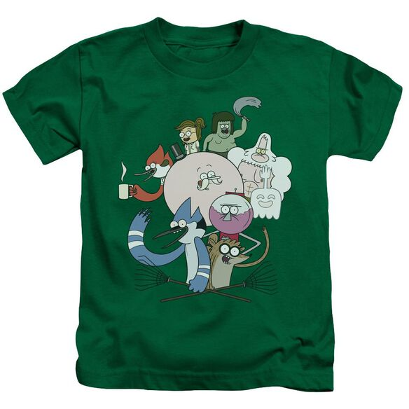 Regular Show Regular Cast Short Sleeve Juvenile Kelly Green T-Shirt