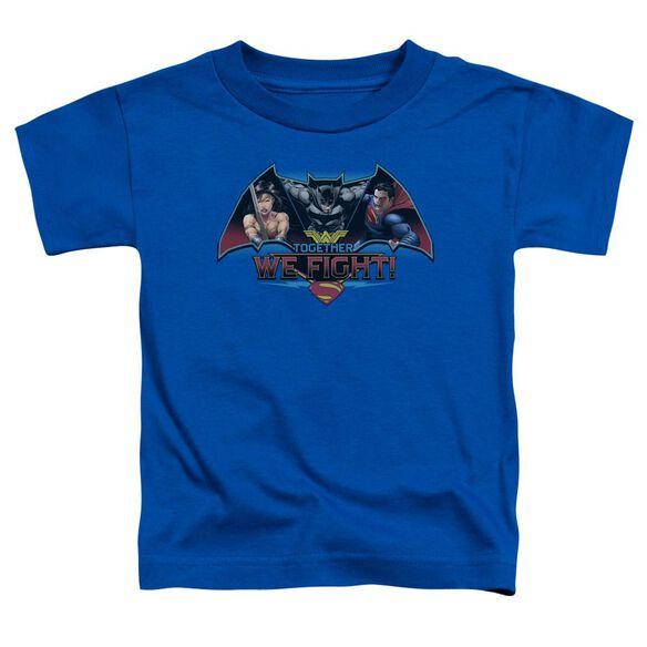Batman V Superman Together We Fight Short Sleeve Toddler Tee Royal Blue T-Shirt