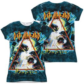 Def Leppard Hysteria (Front Back Print) Short Sleeve Junior Poly Crew T-Shirt
