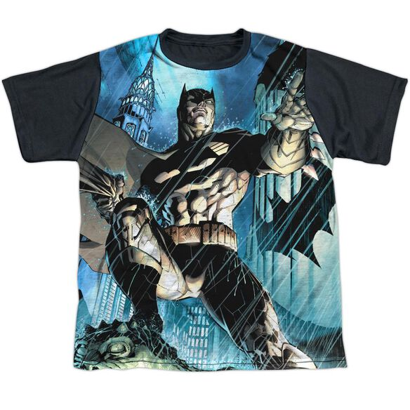 Batman Rainy Rooftop Short Sleeve Youth Front Black Back T-Shirt