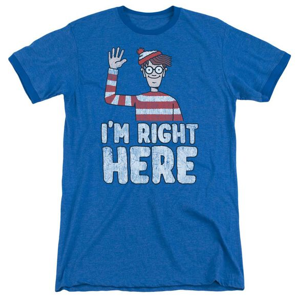 Wheres Waldo Im Right Here Adult Ringer Royal Blue