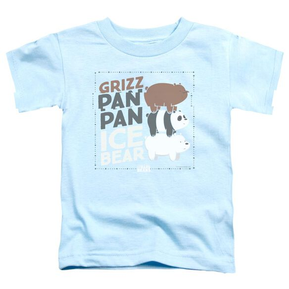 We Bare Bears Grizz Pan Pan Ice Bear Short Sleeve Toddler Tee Light Blue T-Shirt